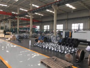 The workshop special for butterfly valves, with Year Production: 2000Ton Material: Mainly Ductile iron, together with Carbon steel, Stainless steel, Copper alloy, special alloy